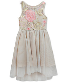 Rare Editions Embroidered Floral Illusion Neck Dress, Little Girls