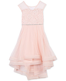 Speechless Big Girls Glitter Lace Illusion-Neck Dress