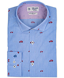 Original Penguin Men's Heritage Slim-Fit Stretch Italian Car & Scooter Dress Shirt