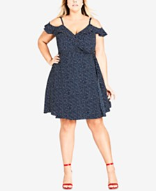 City Chic Trendy Plus Size Cold-Shoulder Wrap Dress