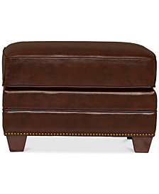 Bauer Leather Ottoman, Quick Ship