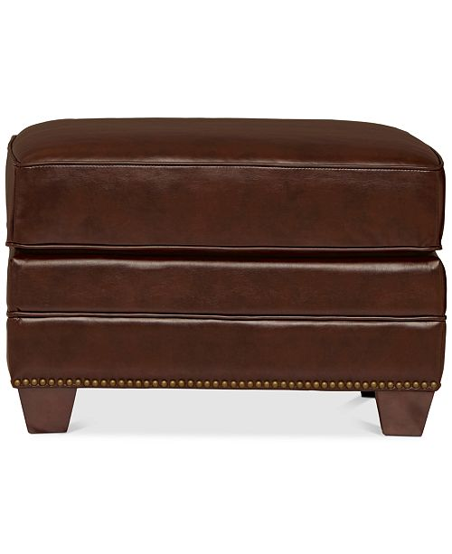 Furniture CLOSEOUT! Bernice Leather Ottoman, Quick Ship