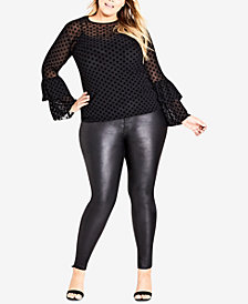 City Chic Trendy Plus Size Sheer Bell-Sleeve Top