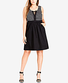 City Chic Trendy Plus Size Lace-Up Fit & Flare Dress