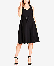 City Chic Trendy Plus Size Lace-Up A-Line Dress