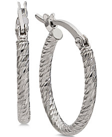 Giani Bernini Small Textured Oval Hoop Earrings in Sterling Silver, Created for Macy's