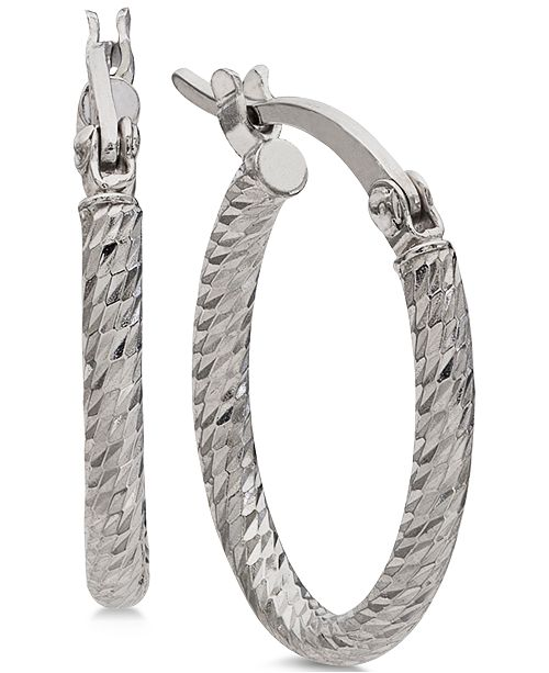 a5fb7d152 ... Giani Bernini Small Textured Oval Hoop Earrings in Sterling Silver,  0.6