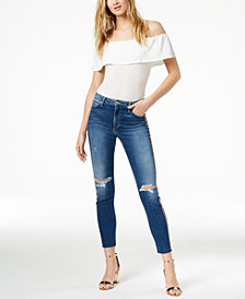 Joe's Jeans The Charlie High Rise Skinny Ankle Jean with Rose Gold Stripe