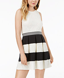 Speechless Juniors' Striped Lace Fit & Flare Dress, Created for Macy's