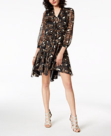 Just Cavalli Silk Chiffon Python-Print Swing Dress