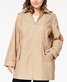 MICHAEL Michael Kors Plus Size Hooded Zip-Front Raincoat