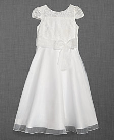 Us Angels Lace Illusion-Neck Dress, Big Girls