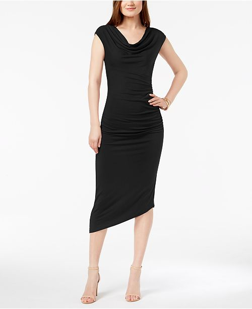 Camuto Dress Asymmetrical Black Rich Vince Midi 0Uvwq