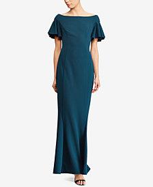 Lauren Ralph Lauren Flutter-Sleeve Fit & Flare Dress