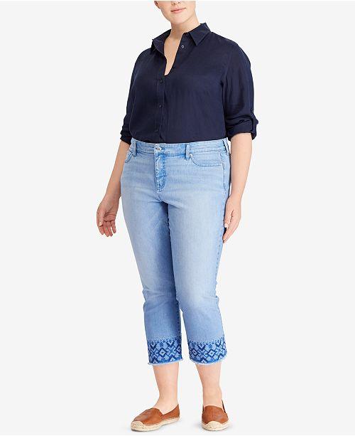 1b7ee07f2a59f Lauren Ralph Lauren Plus Size Premier Straight Crop Jeans - Jeans ...