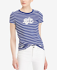 Lauren Ralph Lauren Embroidered Monogram Cotton T-Shirt