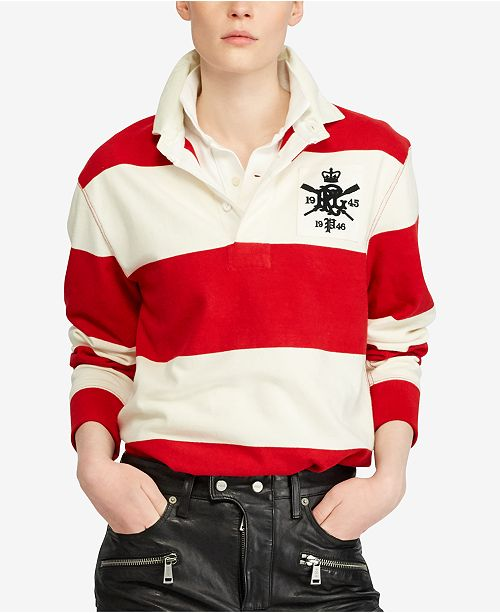 Polo Ralph Lauren Monogram Cotton Rugby Shirt - Tops - Women - Macy s cb46d2eb7