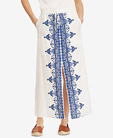 Lauren Ralph Lauren Embroidered Slit Maxiskirt