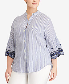 Lauren Ralph Lauren Plus Size Embroidered Bell-Sleeve Shirt
