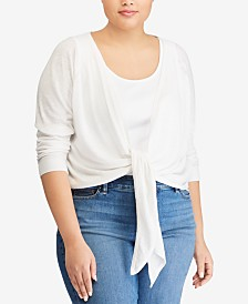 Lauren Ralph Lauren Plus Size Linen Blend Tie-Front Cardigan, Created for Macy's