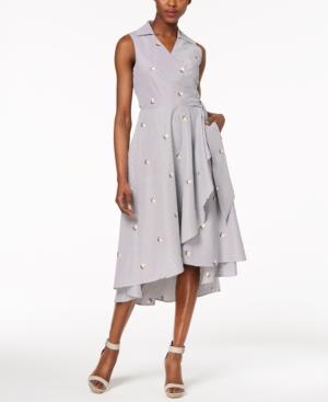Calvin Klein Cotton Embroidered-Stripe Wrap Dress