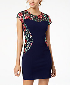 BCX Juniors' Embroidered Illusion-Contrast Bodycon Dress