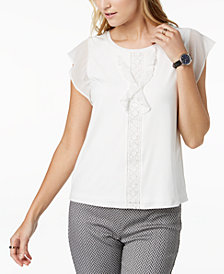 Tommy Hilfiger Flutter-Sleeve Top, Created for Macy's