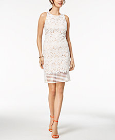 Vince Camuto Geo & Floral Lace Sheath Dress