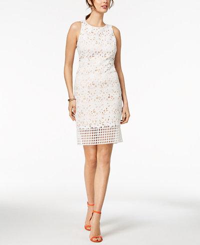 Vince Camuto Geo & Floral Lace Sheath Dress