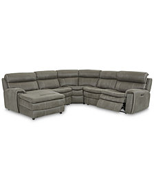 Leilany 5-Pc. Fabric Chaise Sectional Sofa with 1 Power Recliner, Power Headrests and USB Power Outlet