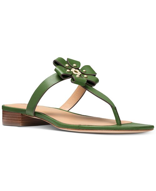 5d0fdbeb871f Michael Kors Women s Tara Flat Thong Sandals   Reviews - Sandals ...