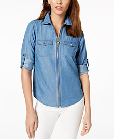 MICHAEL Michael Kors Chambray Utility Shirt in Regular & Petite Sizes