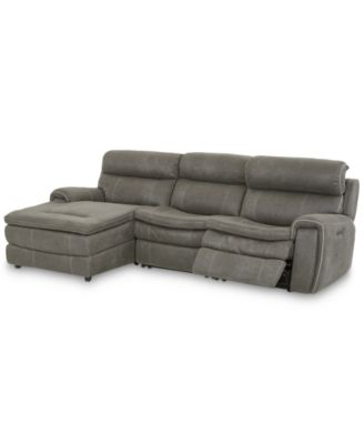 """CLOSEOUT! Leilany 111"""" 3-Pc. Fabric Chaise Sectional Sofa with 1 Power Recliner, Power Headrests and USB Power Outlet"""