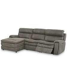 "Leilany 111"" 3-Pc. Fabric Chaise Sectional Sofa with 1 Power Recliner, Power Headrests and USB Power Outlet"