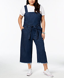 RACHEL Rachel Roy Trendy Plus Size Cotton Denim Jumpsuit