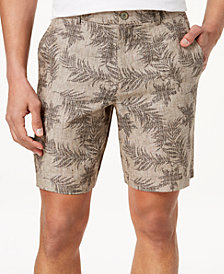 Tasso Elba Men's Fern-Print Linen Shorts, Created for Macy's