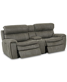"CLOSEOUT! Leilany 93"" 3-Pc. Fabric Power Reclining Sofa With 2 Power Recliners, Power Headrests, Console And USB Power Outlet"