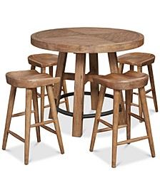 Brewing Collection, 5-Pc. Set (Gathering Round Table & 4 Hops Saddle Seat Gathering Stools)