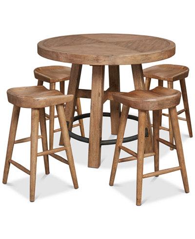 Brewing Collection, 5-Pc. Furniture Set (Gathering Round Table & 4 Hops Saddle Seat Gathering Stools)