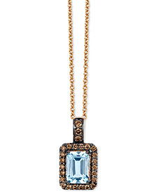 "Le Vian® Sea Blue Aquamarine® (3/4 ct. t.w.) & Diamond (1/5 ct. t.w.) 18""Pendant Necklace in 14k Rose Gold"