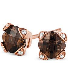 Le Vian® Chocolate Quartz® (9/10 ct. t.w.) & Diamond Accent Stud Earrings in 14k Rose Gold