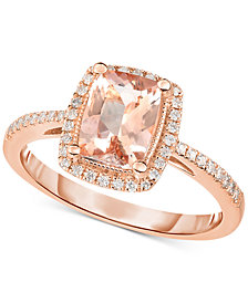 Morganite (1-1/3 ct. t.w.) & Diamond (1/5 ct. t.w.) Ring in 14k Rose Gold