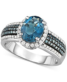 London Blue Topaz (2 ct. t.w.) & Diamond (1/2 ct. t.w.) in 14k White Gold