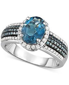 London Blue Topaz (2 ct. t.w.) & Diamond (1/2 ct. t.w.) in 14k White Gold