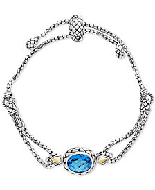 Balissima by EFFY® Blue Topaz Slider Bracelet (5-3/4 ct. t.w.) in Sterling Silver & 18k Gold