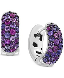 Splash by EFFY® Purple Sapphire Hoop Earrings (2-1/4 ct. t.w.) in Sterling Silver