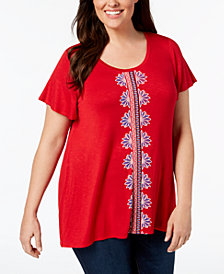Style & Co Plus Size Embroidered Swing-Hem Top, Created for Macy's