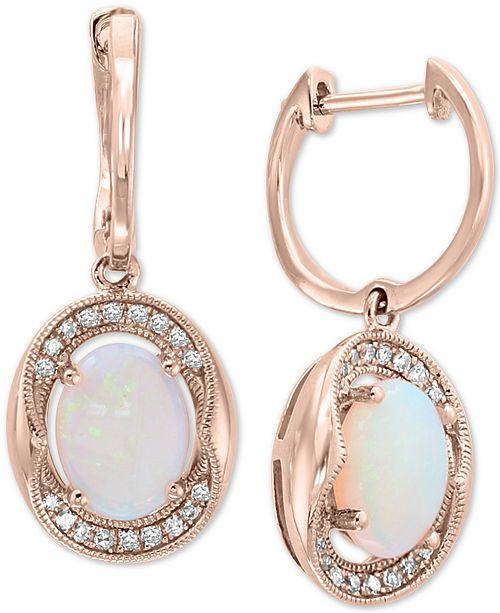 EFFY Collection EFFY® Opal (1-1/3 ct. t.w.) & Diamond (1/8 ct. t.w.) Drop Earrings in 14k Rose Gold