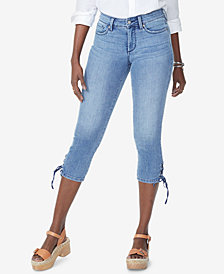 NYDJ Tummy-Control Lace-Up Capri Jeans