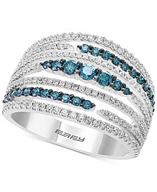 Belle Bleu by EFFY® Diamond Multi-Row Statement Ring (1-1/8 ct. t.w.) in 14k White Gold